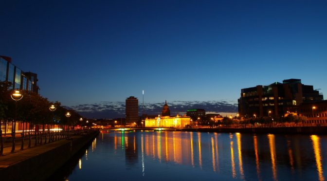 Dublin in the evening. Lights. Ireland.