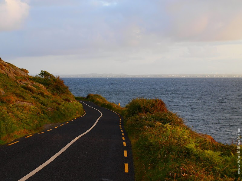 Highway on ocean shore.