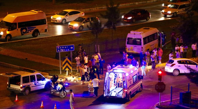 Police in Turkey. Car accident in Antalya.