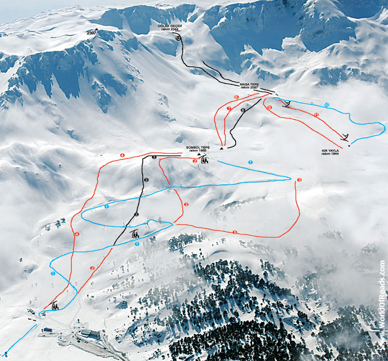 Davraz Ski Resort Map